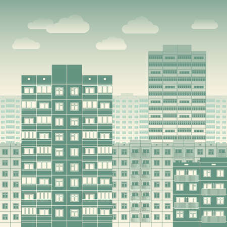 megalopolis: City landscape filled with blocks of flats vector illustration. Typical urban scenery concept of residential quarters of megalopolis