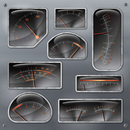 voltmeter: Set of various design vector realistic panels and dashboards of measuring devices isolated on smooth metallic background