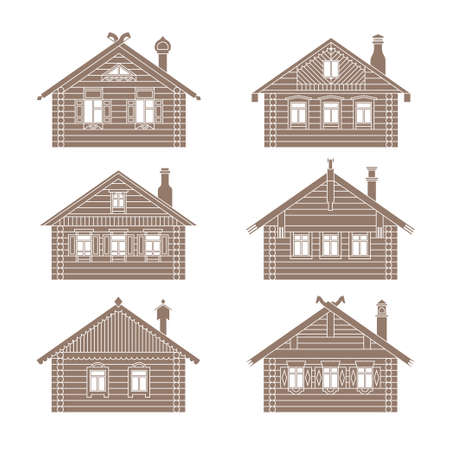 pitched roof: Set of vector facades of old russian log houses.Ancient wooden huts architectural symbols and design elements.Detailed collection for product promotion and advertising isolated on white background