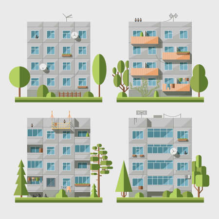 extensive: Set of vector flat style facades of panel houses. Classic blocks of flats architectural symbols and design elements. Collection for product promotion and advertising isolated on white background Illustration