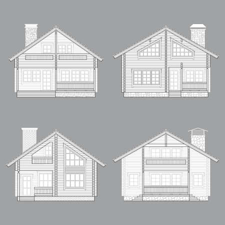 veranda: Set of vector linear facades of log houses.Wooden residential chalets architectural symbols and design elements.Detailed collection for product promotion and advertising isolated on white background Illustration