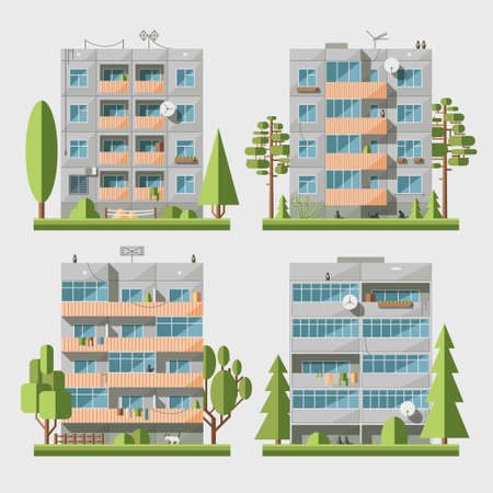 Set of vector flat style facades of panel houses. Classic blocks of flats architectural symbols and design elements. Collection for product promotion and advertising isolated on white background Illustration