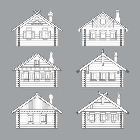 pitched roof: Set of vector linear facades of old russian log houses.Ancient  huts architectural symbols and design elements.Detailed collection for product promotion and advertising isolated on grey background