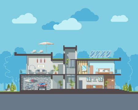 cutaway drawing: Moderno sezione residenziale casa a due piani di vettore di lusso con camere arredate dettagliate interior.Minimalistic risorse naturali eco-friendly architettura riutilizzo dell'energia e riservando illustrazione piatta