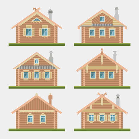 Set of vector flat style facades of old russian log houses.Ancient  huts architectural symbols and design elements.Detailed collection for product promotion and advertising isolated on grey background Illustration