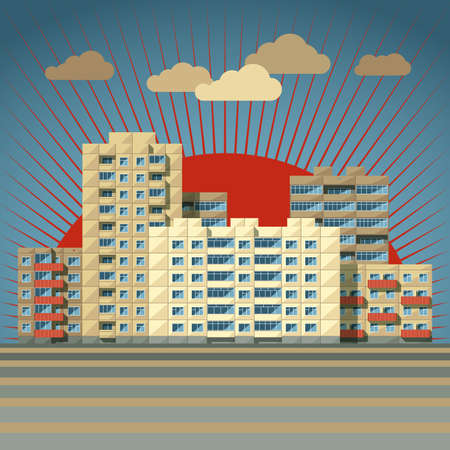balcony view: Retro-colored city landscape filled with blocks of flats with rising sun on back flat style vector illustration. Typical urban scenery concept of residential quarters of megalopolis