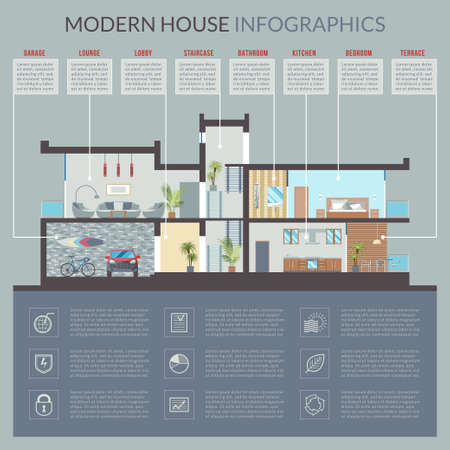 cutaway drawing: Luxury modern residential house vector section with detailed furnished rooms interior. Infographic template for presentation with thematic symbols and design elements flat style illustration Illustration