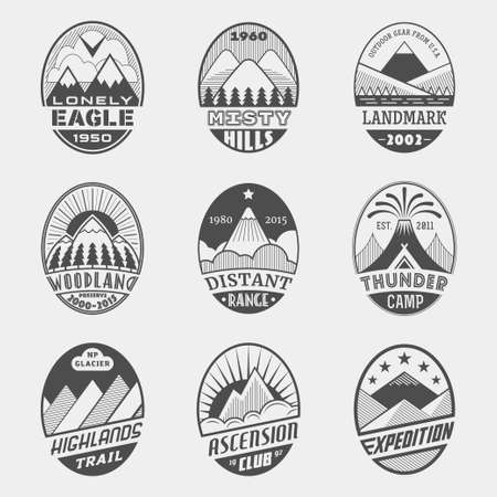 expedition: Set of alpinist and mountain climbing outdoor activity vector labels.templates,badges,emblems,signs black graphic collection.National parks,nature preserves tourism exploration symbols Illustration
