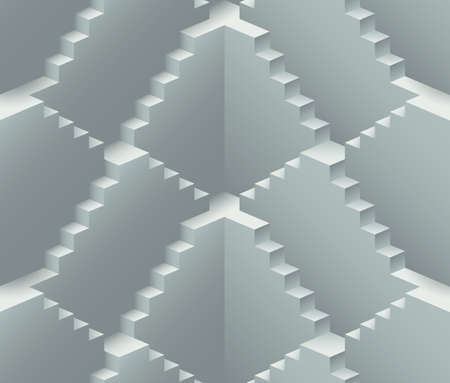 limitless: Realistic endless stairs construction vector seamless pattern
