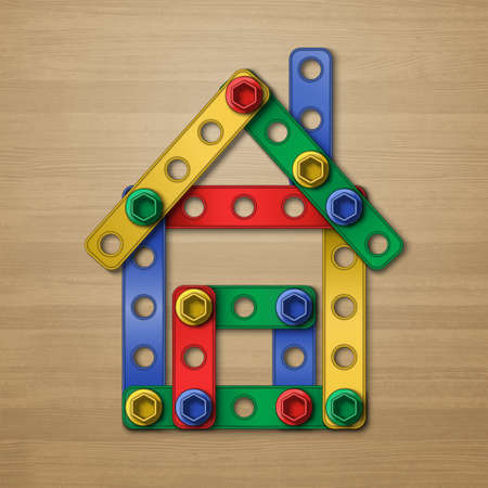 Realistic vector house concept structure symbol made of plastic details from childrens building kit on the light wood desk background