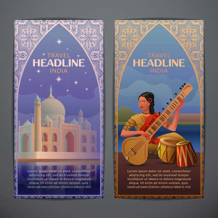 retro art: Indian thematic vector card design with night Agra Taj Mahal and indian girl playing on sitar.Brochure,flyer,booklet,postcard template for product promotion and advertising isolated on grey background Illustration
