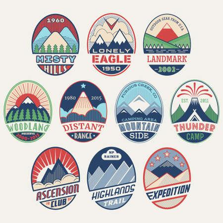 preserves: Conjunto de alpinista y monta�ismo plantillas al aire libre actividad del vector labels.Logotype, insignias, emblemas, signos de color gr�ficos parques collection.National, reservas naturales s�mbolos exploraci�n turismo