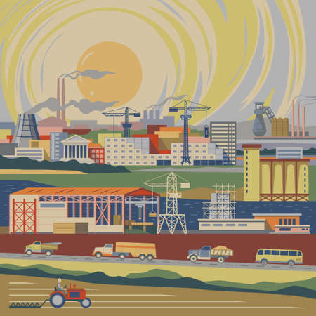 iron ore: Growing industrial country flat style vast landscape with fields and riversroads and cities full of trafficbuildingsplantsfactoriessmoking pipescranesconstruction facilities vector illustration Illustration
