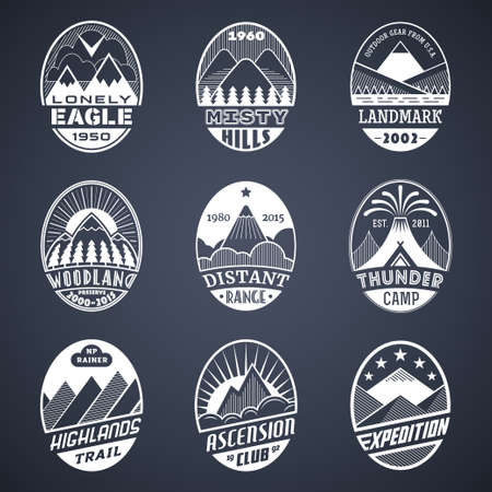adventure: Set of alpinist and mountain climbing outdoor activity vector labels. Illustration