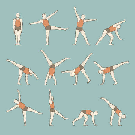 somersault: Set of man schematic vector figures in different poses doing gymnastic and acrobatic exercises isolated on blue background illustration