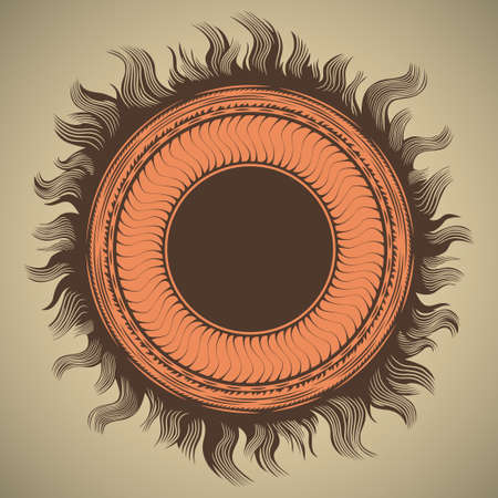 prominence: Stylized graphic emblem of the sun for product promotion and advertising retrocolored vector illustration isolated on light background