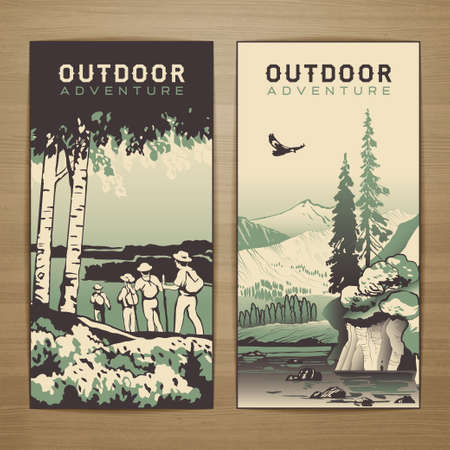 Outdoor thematic vector card design with traveling people and great wild landscapes graphics.Brochureflyerbookletpostcard template for product promotion and advertising isolated on wood background