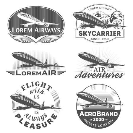 pilot wings: Set of aircraft and air transportation vector labels.Logo templatesbadgesemblemssigns black graphic collection.Air voyagetourflight promotion and advertising symbols isolated on white background