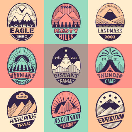 alpinist: Set of alpinist and mountain climbing outdoor activity vector labels on color background.Logotype templatesbadgesemblemssigns graphic collection.National parksnature preserves exploration symbols