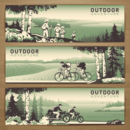 Outdoor thematic vector banner design with traveling people and great wild landscapes graphics.