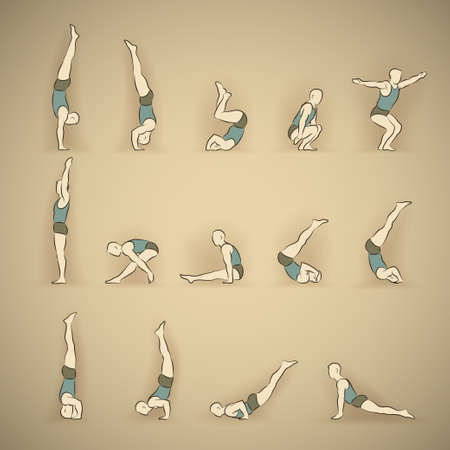 Set of man schematic vector figures in different poses doing gymnastic and acrobatic exercises isolated on beige background illustration