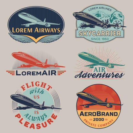 airplane: Set of aircraft and air transportation vector labels.Logo templates,badges,emblems,signs color graphic collection.Air voyage,tour,flight promotion and advertising symbols isolated on grey background Illustration