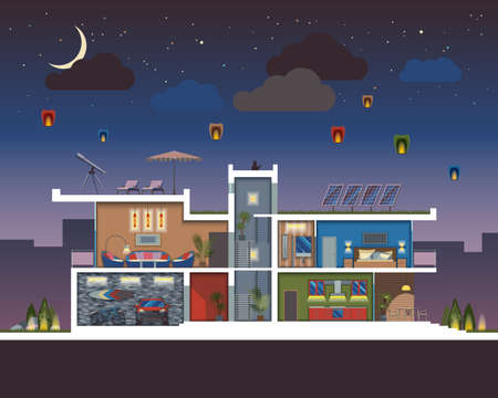 reusing: Luxury modern residential two-storied house vector section at night with detailed furnished rooms interior.Minimalistic architecture reusing energy and reserving nature resources flat illustration