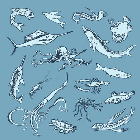 inhabitants: Disegnata a mano insieme di vari abitanti dell'oceano.