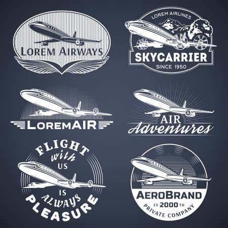 advertising signs: Set of aircraft and air transportation vector labels.icon templates,badges,emblems,signs black graphic collection.Air voyage,tour,flight promotion and advertising symbols isolated on black background