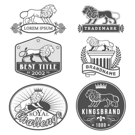 great seal: Set of vector labels with main lion design theme. Logo templates,badges,emblems,signs black graphic collection. Product promotion and advertising symbols isolated on white background Illustration
