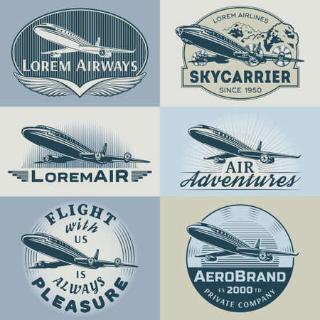 old frame: Set of aircraft and air transportation vector labels.Logo templates,badges,emblems,signs color graphic collection.Air voyage,tour,flight promotion and advertising symbols isolated on grey background Illustration