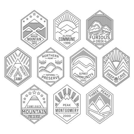 national parks: Set of alpinist and mountain climbing outdoor activity vector linear labels. Logotype templates and badges with mountains, peaks, creeks, trees, sun,tent. National parks and nature exploration symbols Illustration