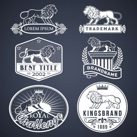 great seal: Set of vector labels with main lion design theme. Logo templates,badges,emblems,signs white graphic collection. Product promotion and advertising symbols isolated on black background Illustration
