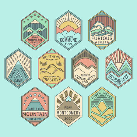 Set of alpinist and mountain climbing outdoor activity vector linear color labels.Logotype templates and badges with mountains,peaks,creeks,trees,sun,tent.National parks and nature exploration symbols Illustration