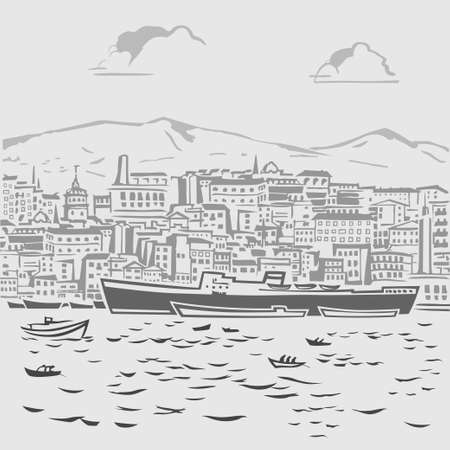 Harbor city seafront view with cruise ship and boats at front and buildings of the old town on the mountain background behind vector illustration