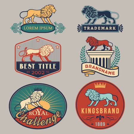 advertising signs: Set of vector color labels with main lion design theme. Logo templates,badges,emblems,signs white graphic collection. Product promotion and advertising symbols isolated on gray background
