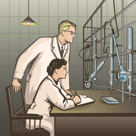 student study: Chemists waiting for results of research in the laboratory color vector illustration