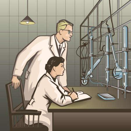quimica: Los qu�micos en espera de los resultados de la investigaci�n en el laboratorio de color ilustraci�n vectorial