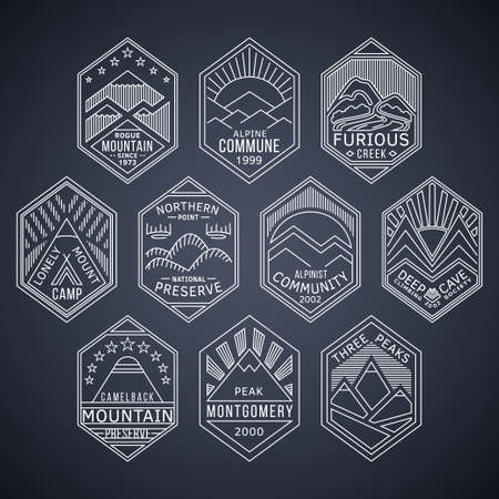 Set of alpinist and mountain climbing outdoor activity vector white linear labels.Logotype templates and badges with mountains,peaks,creeks,trees,sun,tent.National parks and nature exploration symbols