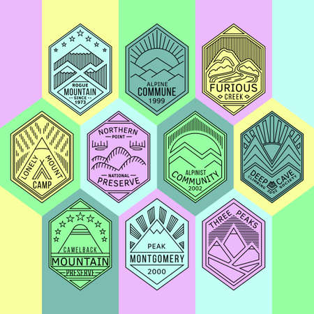 climbing mountain: Set of alpinist and mountain climbing outdoor activity vector linear color labels.Logotype templates and badges with mountains,peaks,creeks,trees,sun,tent.National parks and nature exploration symbols Illustration