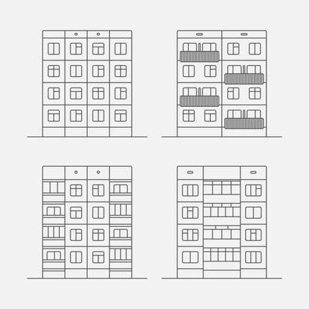 extensive: Set of vector linear facades of panel houses.Classic blocks of flats architectural symbols and design elements.Detailed collection for product promotion and advertising isolated on white background