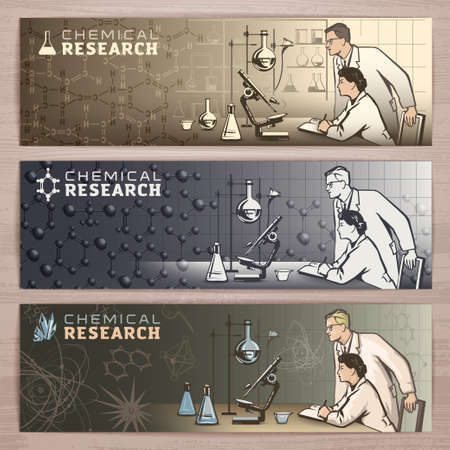 researcher: Chemical vector banner design with scientists waiting for results of research in the laboratory.Brochure,flyer,booklet,card template for product promotion and advertising isolated on wood background Illustration