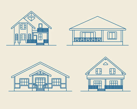 residential houses: Set of various design vector linear private residential houses isolated on light background. Detailed graphic symbols and elements collection