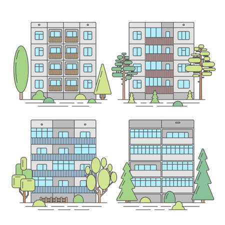 balcony view: Set of color vector linear facades of panel houses.Classic blocks of flats architectural symbols and design elements.Detailed collection for product promotion and advertising on white background