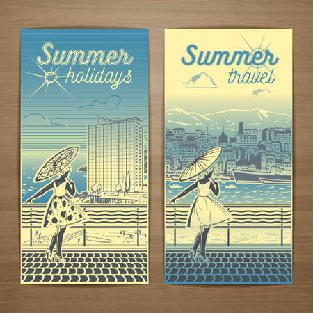 promotion girl: Summer resort vector card design with bronzed girl in a light summer dress with parasol standing on the seafront. Brochure, flyer, booklet, postcard template for product promotion and advertising