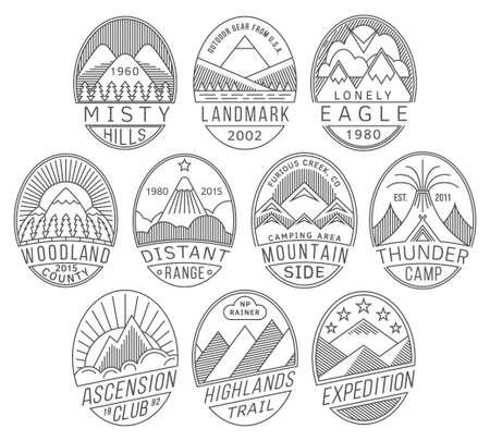 alpinist: Set of alpinist and mountain climbing outdoor activity vector linear labels.Logotype templates,badges,emblems,signs black graphic collection.National parks,nature preserves tourism exploration symbols