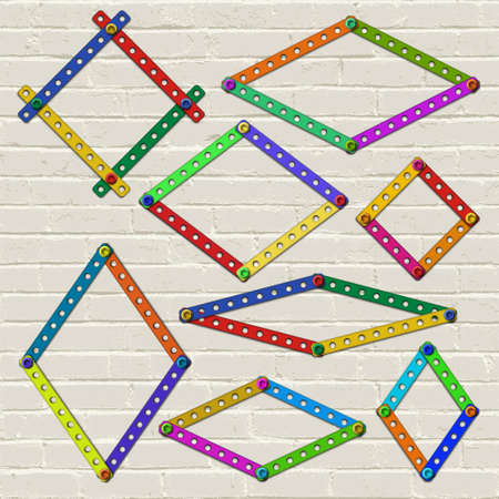 formats: Set of realistic vector frames of various sizes, proportions and formats made of plastic details from children building kit on the painted brick wall background. For pictures and photos presentation