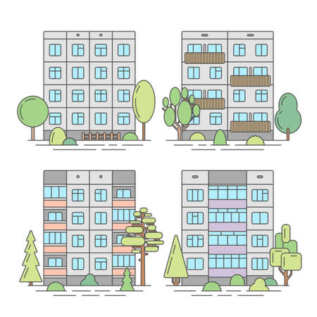 extensive: Set of color vector linear facades of panel houses.Classic blocks of flats architectural symbols and design elements.Detailed collection for product promotion and advertising on white background