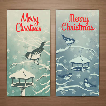 Christmas vector card design with titmouses gathering at the feeder in winter evening with falling snowflakes. Brochure, flyer, booklet, postcard template for product promotion and advertising
