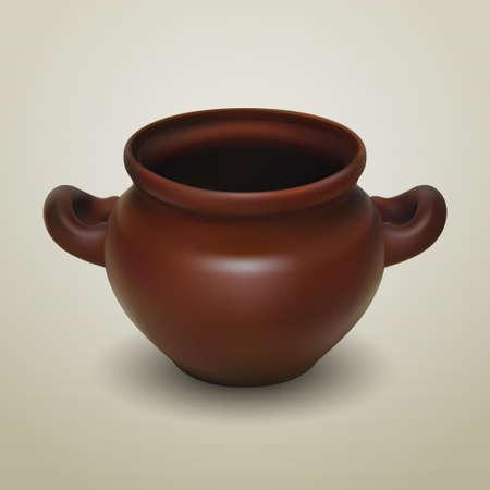 frasco: Realista olla de barro vector, tradicional cerámica ideal europeo para la cocción de alimentos y cocinar en el horno. Ilustración gráfica para la promoción del producto y la publicidad aislada en el fondo blanco Vectores